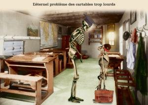 Les belles cartes postales de Bébert Plonk & Replonk – Collection «L'Univers à l'envers» – l'Eternel problème des cartables trop lourds.