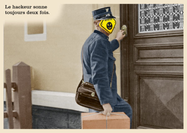 Les belles cartes postales de Bébert Plonk & Replonk – Collection «L'Univers à l'envers» – Le hackeur sonne toujours deux fois.