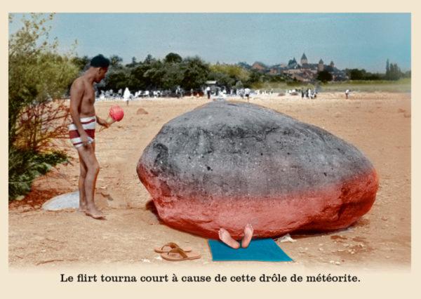 Les belles cartes postales de Bébert Plonk & Replonk – Collection «L'Univers à l'envers» – Le flirt tourna court à cause de cette drôle de météorite.