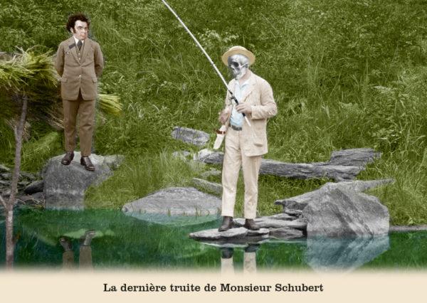 Les belles cartes postales de Bébert Plonk & Replonk – Collection «L'Univers à l'envers» – La dernière truite de Monsieur Schubert.