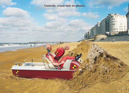 Ostende, crash-test de pédalo